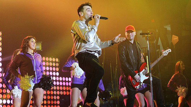 The girls from Dance Evolution were invited to perform on stage with Canadian pop-rock band, Hedley, at the Sudbury Arena on March 4. Photo by Amanda White amandawhitephotography.ca.