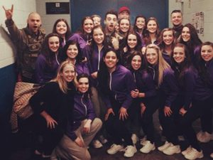 The girls from Dance Evolution were invited to perform on stage with Canadian pop-rock band, Hedley, at the Sudbury Arena on March 4. Supplied photo.